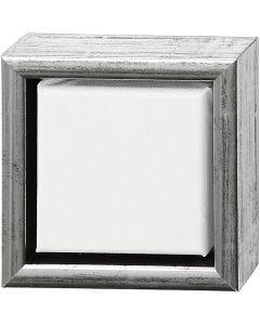 ArtistLine Künstlerleinwand mit Rahmen, Tiefe 3 cm, Größe 14x14 cm, Weiß, Antiksilber, 1 Stck.