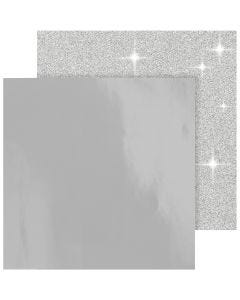 Design-Papier, 30,5x30,5 cm, 120+128 g, Silber, 2 Bl./ 1 Pck.