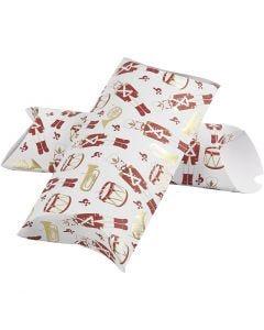 Geschenkverpackung, Nussknacker, Größe 23,9x15x6 cm, 300 g, Gold, Rot, Weiß, 3 Stck./ 1 Pck.