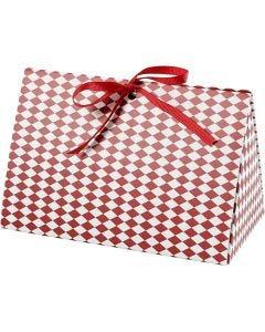 Geschenkverpackung, Harlekin-Muster, Größe 15x7x8 cm, 250 g, Rot, Weiß, 3 Stck./ 1 Pck.