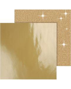 Design-Papier, 30,5x30,5 cm, 120+128 g, Gold, 2 Bl./ 1 Pck.