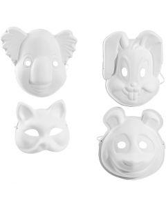 Masken - Sortiment, H: 17-25 cm, B: 18-24 cm, Weiß, 4x3 Stck./ 1 Pck.