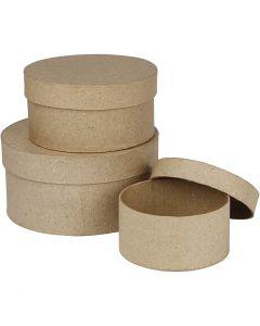Schachteln, rund, H: 5+6,5+7,5 cm, D: 10+13+16 cm, 3 Stck./ 1 Set