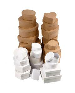 Schachteln aus Pappe, Größe 6,5-18 cm, Braun, Weiß, 30 Stck./ 1 Set