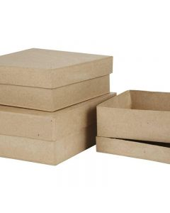 Pappschachtel-Set, quadratisch, H: 5+6+7,5 cm, Größe 16+18+20 cm, 3 Stck./ 1 Set