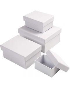Rechteckige Boxen, H: 3,5+4,5+5,5+6,5 cm, Größe 8,5x11,5+11x14 cm, Weiß, 4 Stck./ 1 Set