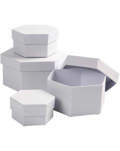 Schachteln, sechseckig, H: 4+5+6+7 cm, D: 6,5+8+10+12 cm, Weiß, 4 Stck./ 1 Set