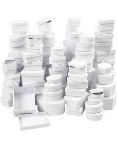Schachteln - Sortiment, D: 5,5-16 cm, Weiß, 168 sort./ 1 Box