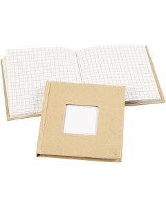 Notizbuch, Größe 10x10 cm, 60 g, Braun, 1 Stck.