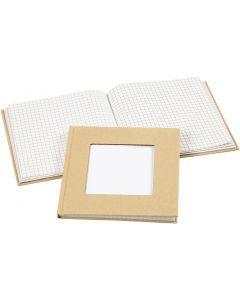 Notizbuch, Größe 14x14 cm, 60 g, Braun, 1 Stck.