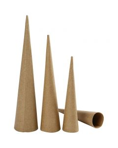 Pappkegel, lang, H: 20-25-30 cm, D: 4-5-6 cm, 3 Stck./ 1 Pck.