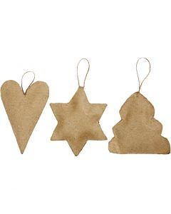 Weihnachts-Anhänger, Herz, Stern, Weihnachtsbaum, Größe 8-9 cm, 9 Stck./ 1 Pck.