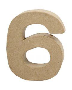 Zahl, 6, H: 10 cm, B: 8,2 cm, Stärke: 1,7 cm, 1 Stck.