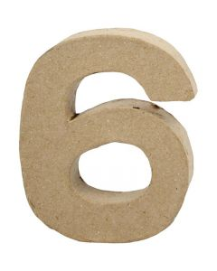 Zahl, 6, H: 10 cm, B: 8,2 cm, Dicke 1,7 cm, 1 Stck.