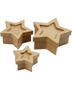 Schachtel in Sternform, Größe 15x15x6 cm, 3 Stck./ 1 Set
