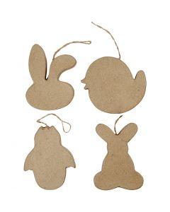 Oster-Aufhänger, Häschenkopf, Küken, Küken im Ei und Kaninchen, H: 10 cm, 4 Stck./ 1 Pck.