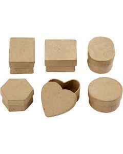 Mini-Schachteln, H: 3 cm, D: 4-6 cm, 6 Stck./ 1 Pck.