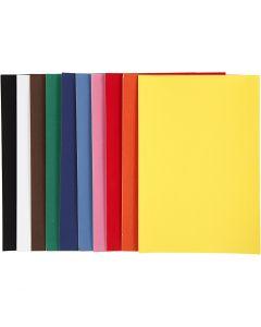 Velourpapier, A4, 210x297 mm, 140 g, Sortierte Farben, 10 Bl./ 1 Pck.