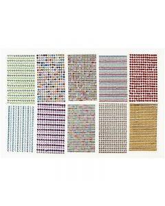 Strassstein-Sticker, D: 4-6 mm, 16x9,5 cm, Sortierte Farben, 10 Bl./ 1 Pck.