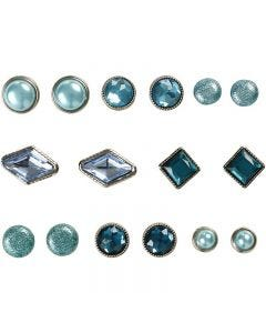 Deko-Nieten / Brads , Größe 8-18 mm, Blau, 16 Stck./ 1 Pck.