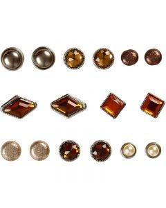 Deko-Nieten / Brads , Größe 8-18 mm, Braun, 16 Stck./ 1 Pck.