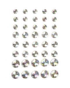 Strasssteine, Größe 6+8+10 mm, Kristall, 40 Stck./ 1 Pck.