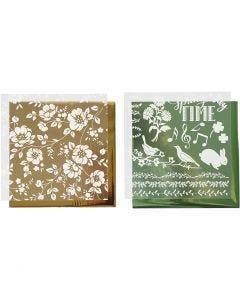 Dekofolie mit Transferblatt, Blumen, 15x15 cm, Gold, Grün, 2x2 Bl./ 1 Pck.