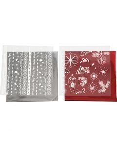 Dekofolie mit Transferblatt, Magische Weihnachten, 15x15 cm, Rot, Silber, 2x2 Bl./ 1 Pck.