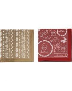 Dekofolie mit Transferblatt, Traditionelle Weihnachten, 15x15 cm, Gold, Rot, 2x2 Bl./ 1 Pck.