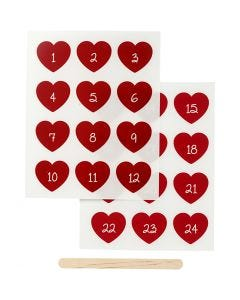 """Rub-on""-Sticker, Adventkalender-Zahlen, H: 32 mm, B: 28 mm, 12,2x15,3 cm, Rot, 1 Pck."