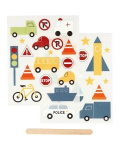 """Rub-on""-Sticker, Transport, 12,2x15,3 cm, 1 Pck."