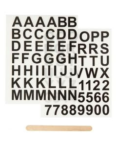 Rub-on Sticker, Buchstaben & Zahlen, H: 17 mm, 12,2x15,3 cm, Schwarz, 1 Pck.