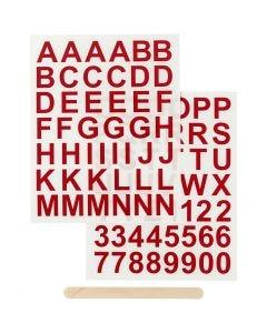 Rub-on Sticker, Buchstaben & Zahlen, H: 17 mm, 12,2x15,3 cm, Rot, 1 Pck.