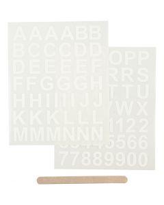 Rub-on Sticker, Buchstaben & Zahlen, H: 17 mm, 12,2x15,3 cm, Weiß, 1 Pck.