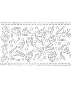 Schaum Sticker, Skieläufer, 9x14 cm, Größe 5-30 mm, Weiß, 1 Bl.