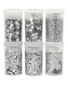 Glitter-/Pailletten-Sortiment, Silber, 6x5 g/ 1 Pck.