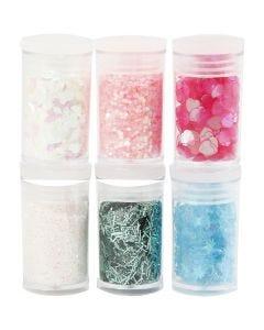 Glitter-/Pailletten-Sortiment, Pastellfarben, 6x5 g/ 1 Pck.