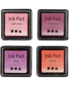 Stempelkissen, H: 2 cm, Größe 3,5x3,5 cm, Pfirsich, Pink, Hellrosa, Dunkelrosa, 4 Stck./ 1 Pck.