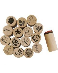 Deco Art-Stempel, Blumen- und Blätter, H: 26 mm, D: 20 mm, 15 Stck./ 1 Pck.