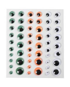Wackelaugen, selbstklebend, D: 6+8+10+12+15 mm, Grün, Orange, Weiß, 1 Bl., 54 Stck.