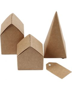 Gestanzte Häuser und Bäume aus Karton, H: 5,7-10 cm cm, 1 Set