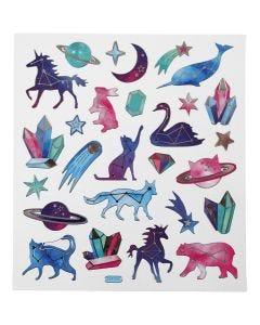 Sticker, Sternzeichen-Tiere, 15x16,5 cm, 1 Bl.