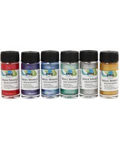 Marmorierungsfarbe Magic Marble, Metallic-Farben, 6x20 ml/ 1 Pck.