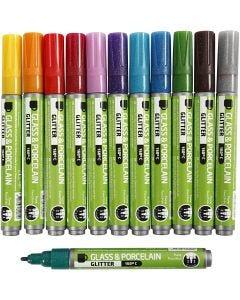 Glas-/Porzellanmalstift, Strichstärke 2-4 mm, Halbdeckend, Sortierte Farben, 12 Stck./ 1 Pck.