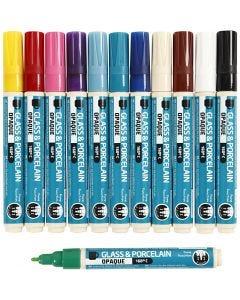 Glas-/Porzellanmalstift, Strichstärke 2-4 mm, Deckend, Sortierte Farben, 12 Stck./ 1 Pck.