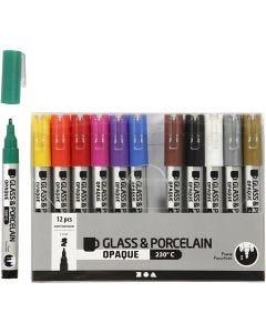 Glas-/Porzellanmalstift, Strichstärke 1-2 mm, Halbdeckend, Sortierte Farben, 12 Stck./ 1 Pck.