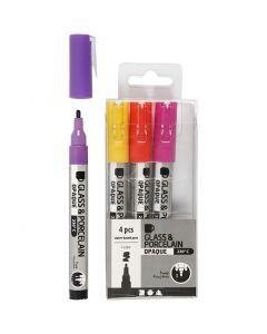 Glas-/Porzellanmalstift, Strichstärke 1-2 mm, Halbdeckend, Orange, Flieder, Rosa, Gelb, 4 Stck./ 1 Pck.