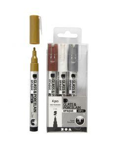 Glas-/Porzellanmalstift, Strichstärke 1-2 mm, Halbdeckend, Braun, Gold, Silber, Weiß, 4 Stck./ 1 Pck.
