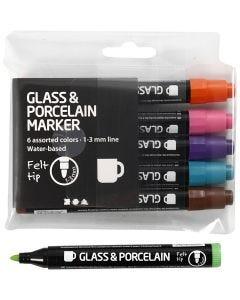 Glas- und Porzellanmalstift, Strichstärke 1-3 mm, Halbdeckend, Zusätzliche Farben, 6 Stck./ 1 Pck.