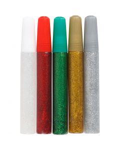 Glitzerkleber, Sortierte Farben, 5x10 ml/ 1 Pck.